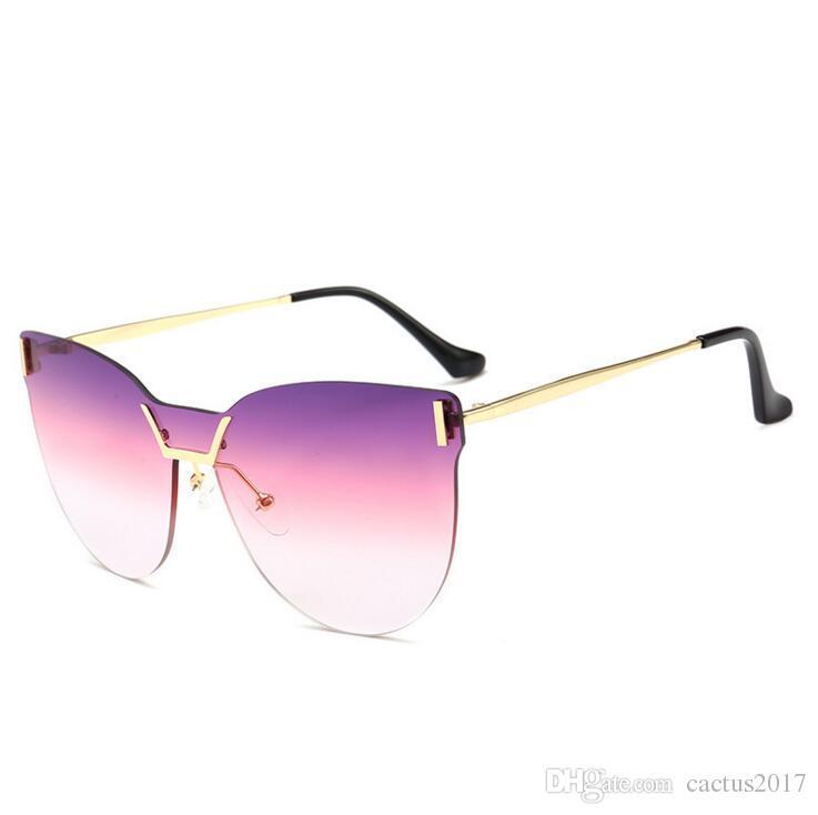 9eebc86de59 Frameless Gradient Cool Big Woman Sunglasses Pink High Brand New Year 2018  Mirror Oversized Sun Glasses Women Hipster Trendy Pink Sunglasses Sunglasses  At ...