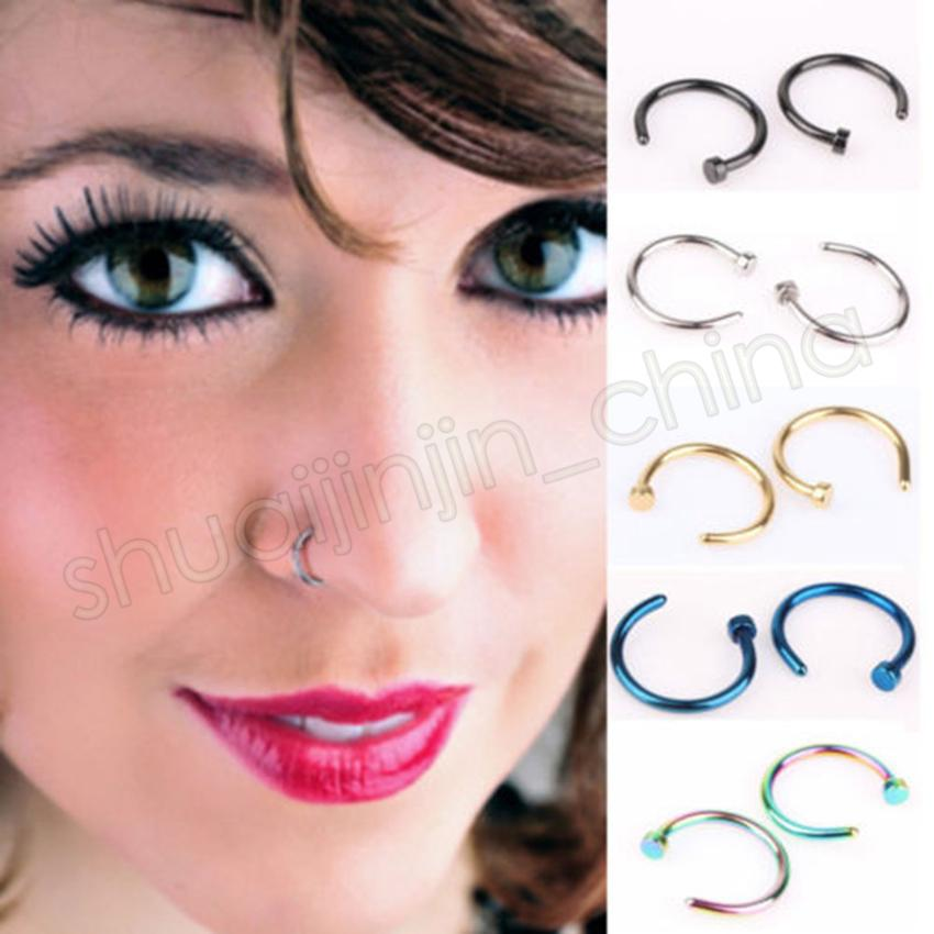 53179c32516 2019 Nose Rings Body Piercing Jewelry Fashion Jewelry Stainless Steel Nose  Open Hoop Ring Earring Studs Fake Nose Rings Non Piercin GGA555 From ...