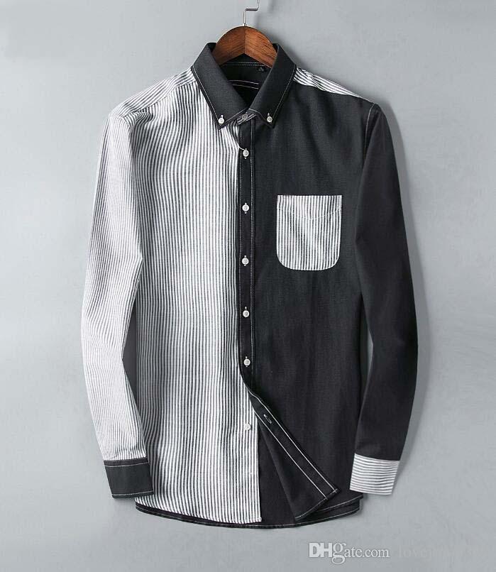 Camisa De Casual Bordado Lujo Hombre Rayas Para Slim Compre FO4Bq6wHq