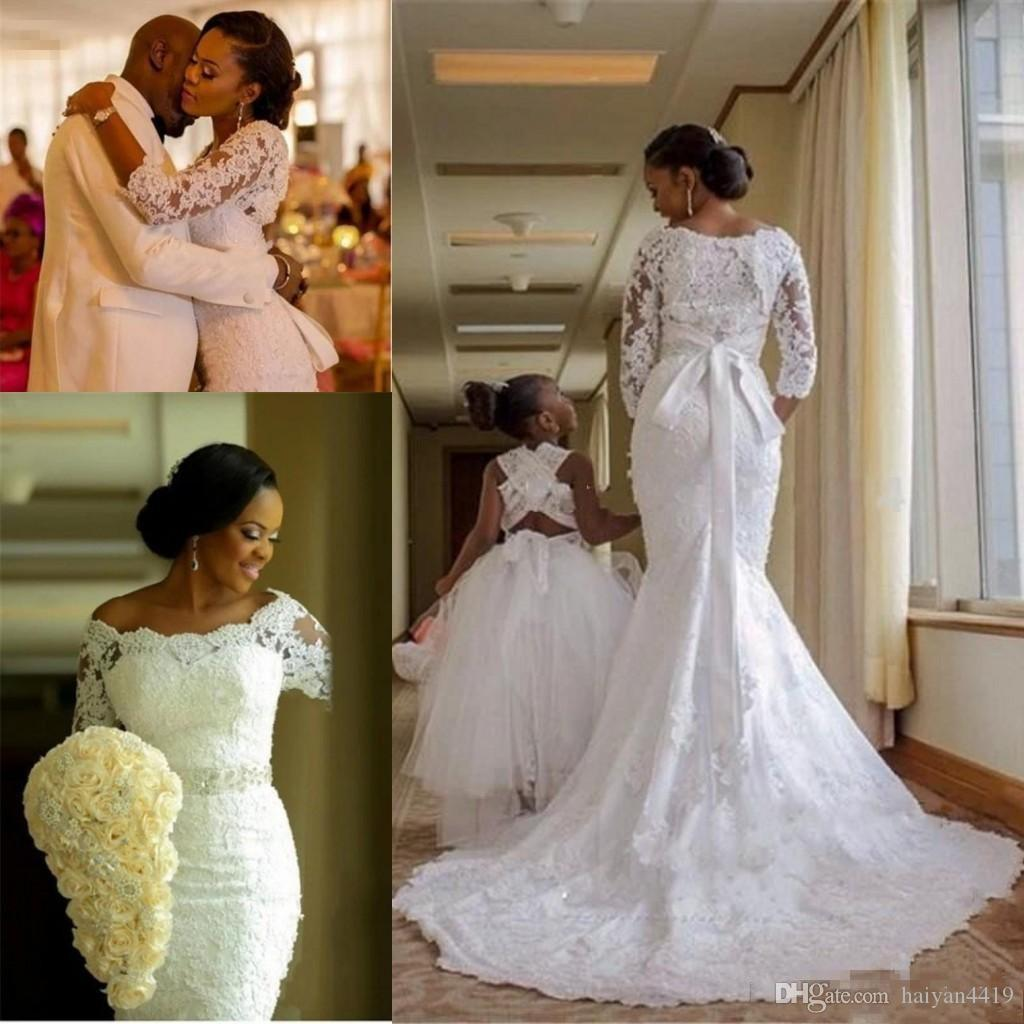 2018 Luxury Mermaid Wedding Dresses Off Shoulder Full Lace Applique Beaded Sash 3/4 Long Sleeves Sweep Train African Nigerian Bridal Gowns