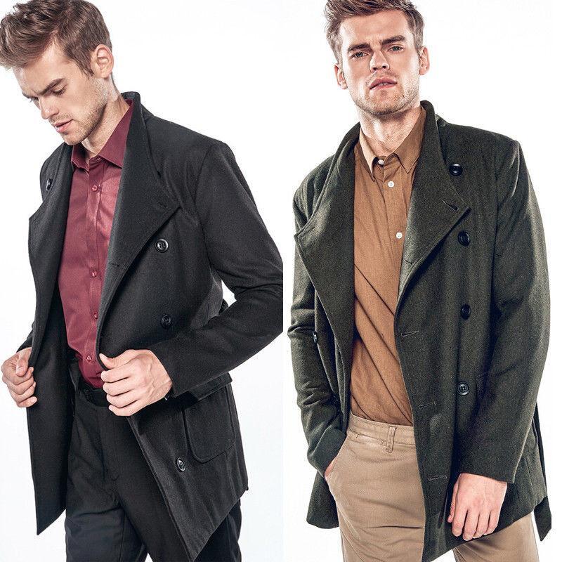 brand new b7ff2 deeb7 Herren stilvolle zweireihiger Trenchcoat Winter Vintage lange Jacke Mantel  Anzug Kragen Armee grün schwarz Herren Trenchcoat