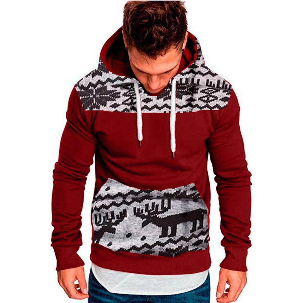 Men's Clothing Hoodie Men Sweatshirt Boys Christmas Hoodies Pullover Male Hooded Jacket Dinosaur Print Men Clothing Red Xxl Xxxl