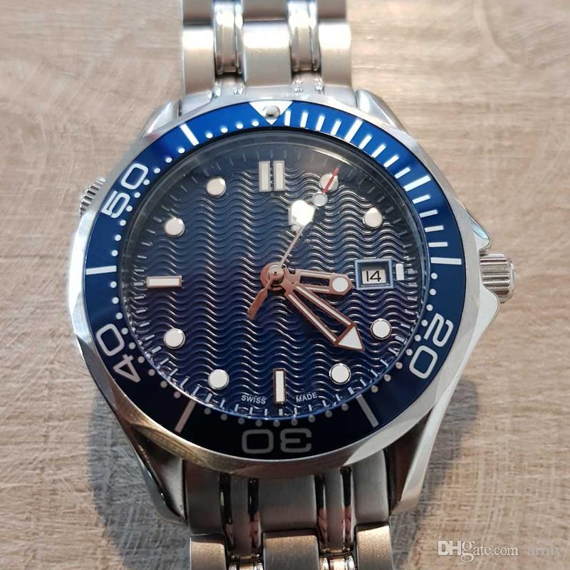 2019 новые роскошные мужские профессиональные 300 м джеймс бонд 007 синий циферблат сапфировые автоматические часы мужские часы