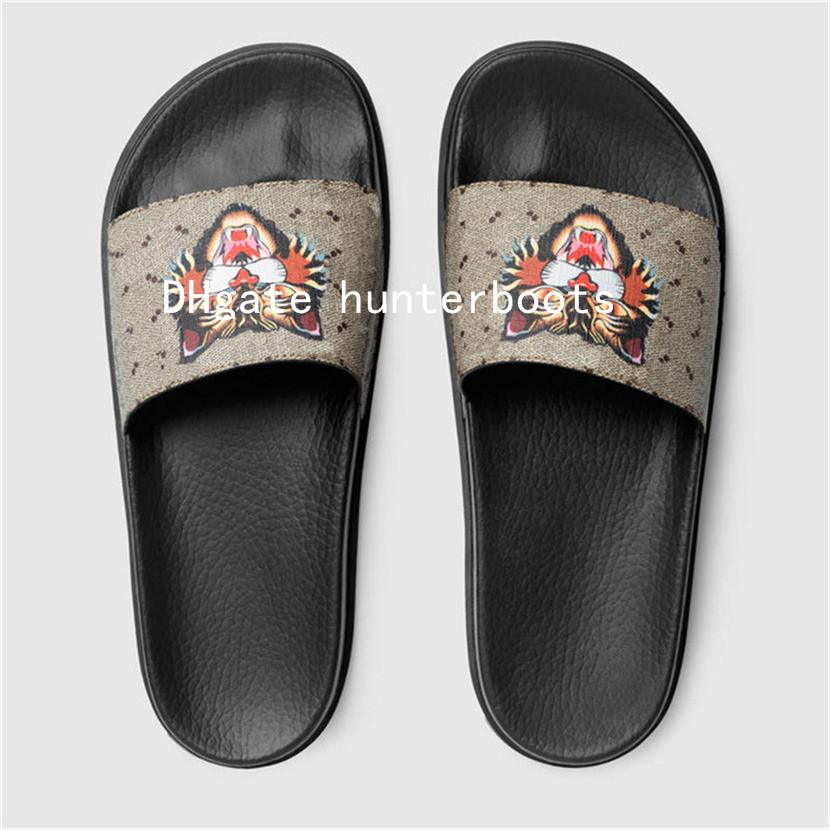 d7b66a6b3db8a3 Sandals Luxury Designer Rubber Slide Sandal Sandals Men Slippers With Box  Striped Flower Tigers Snake Print Unisex Rubber Slide Sandal Blue Shoes  Womens ...