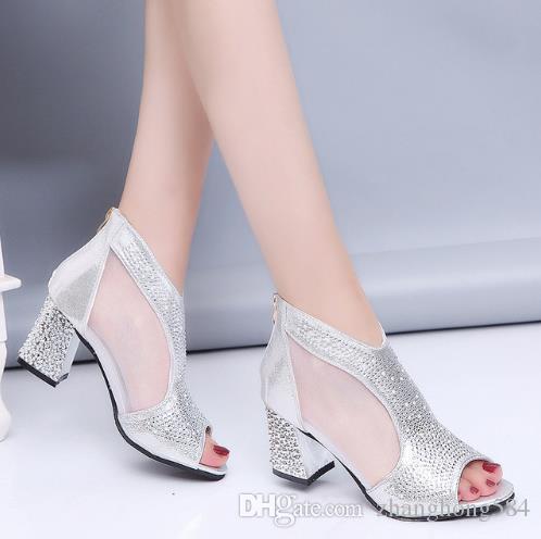 Mariée Femmes En Cm Mode 2018 Haute Chaussures Bling Talon Muje De 7 Cuir Sandales Diamant Été Sandalia Talons Carré 53LA4Rqj