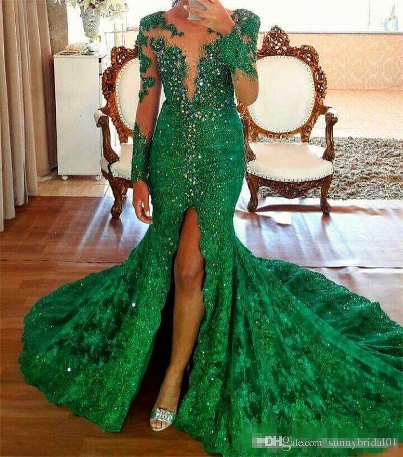 2018 Green Sheer Long Sleeves Lace Mermaid Evening Dresses Crystals Beaded Split Sweep Train Formal Party Prom Dresses Wear Gowns
