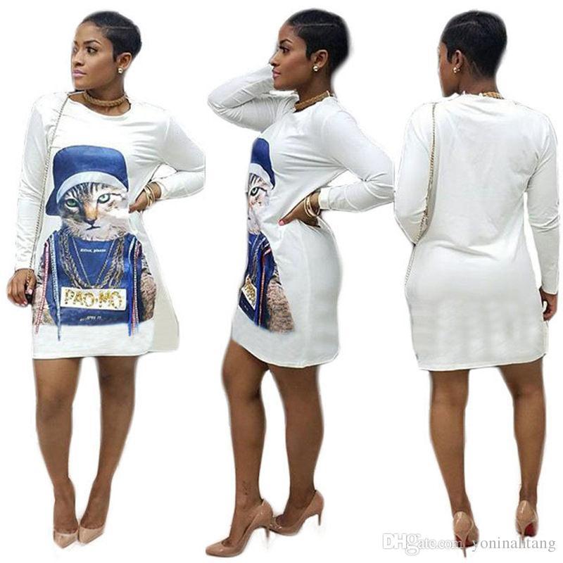 Wholesale Women Long Sleeve Cute Cat Print Cotton Casual O Neck Dress For Fat  Women Big Size 2XL Long Summer Dresses Silk Dress From Yoninahtang bca03dc5f1bd