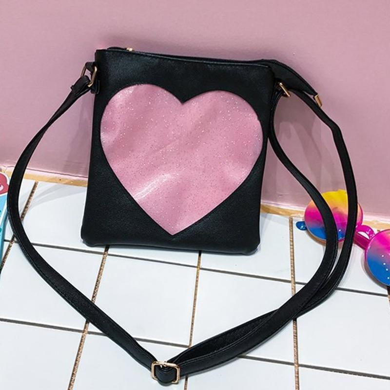 Women Transparent Love Heart Shape Ita Bag Mini Crossbody Bags 2018 Korea  Girl Shoulder Messenger Bag Small Mobile Phone