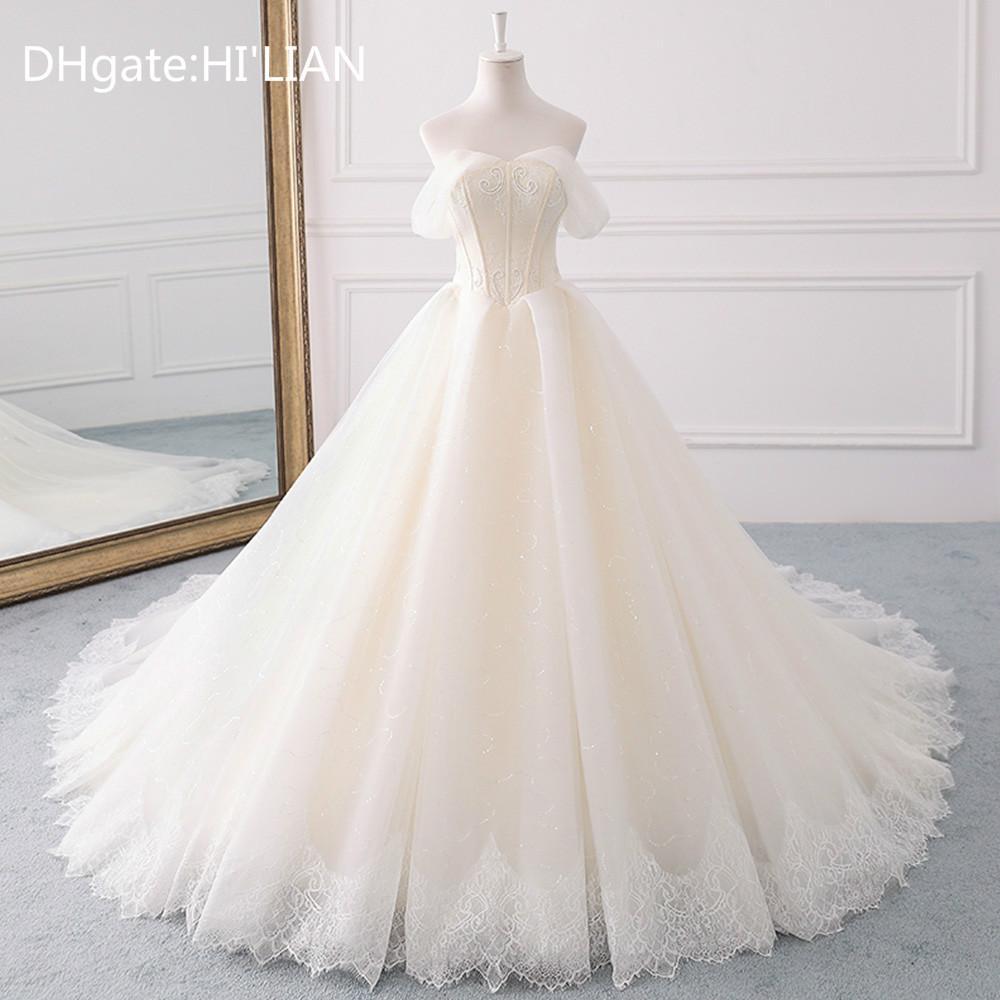 Discount White Ivory Champagne Princess A Line Wedding Dresses Plus ...