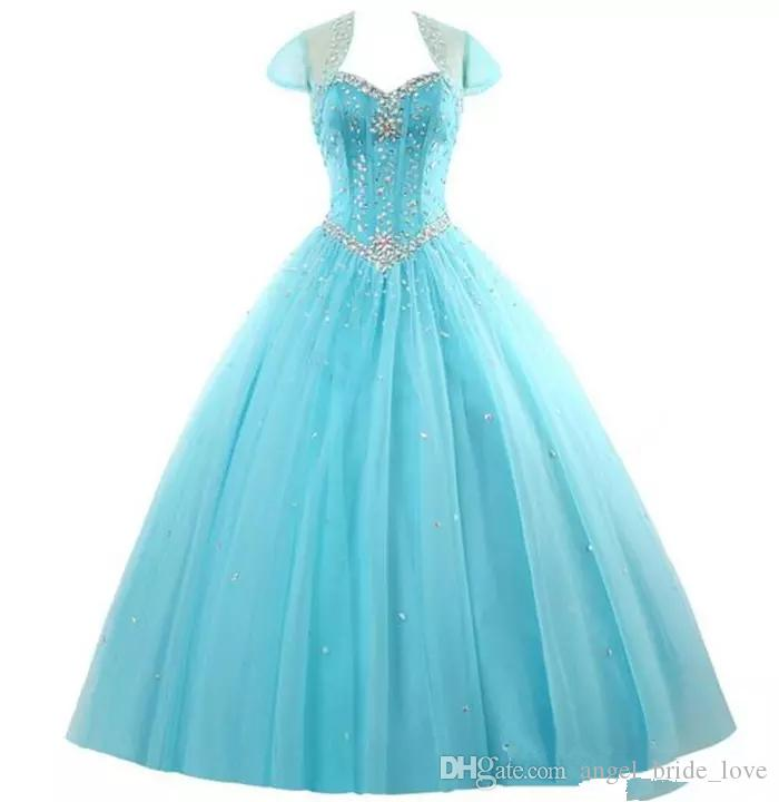 2018 New Amazing Rhinestone Crystals Blush Peach Quinceanera Dresses 2016 Sexy Sheer Crew Sweet 16 Ruffle Princess Prom Ball Birthday Q41