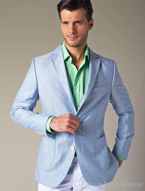 Compre 2018 Trajes De Boda Azul Claro De La Primavera Trajes De Los Hombres  Blazer Por Encargo Slim Fit Novio Mejor Hombre Hecho A Medida Esmoquin  Terno ... bd5db318bc6