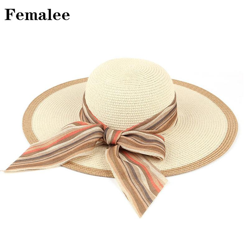 FEMALEE Colorful Women Summer Ribbon Boater Bow Tie Vacation Outdoor  Seaside Casual Hat Leisure Travel Sun Visor Beach Cap Boho Summer Hat Straw  Cowboy Hats ... a6a992438fd1