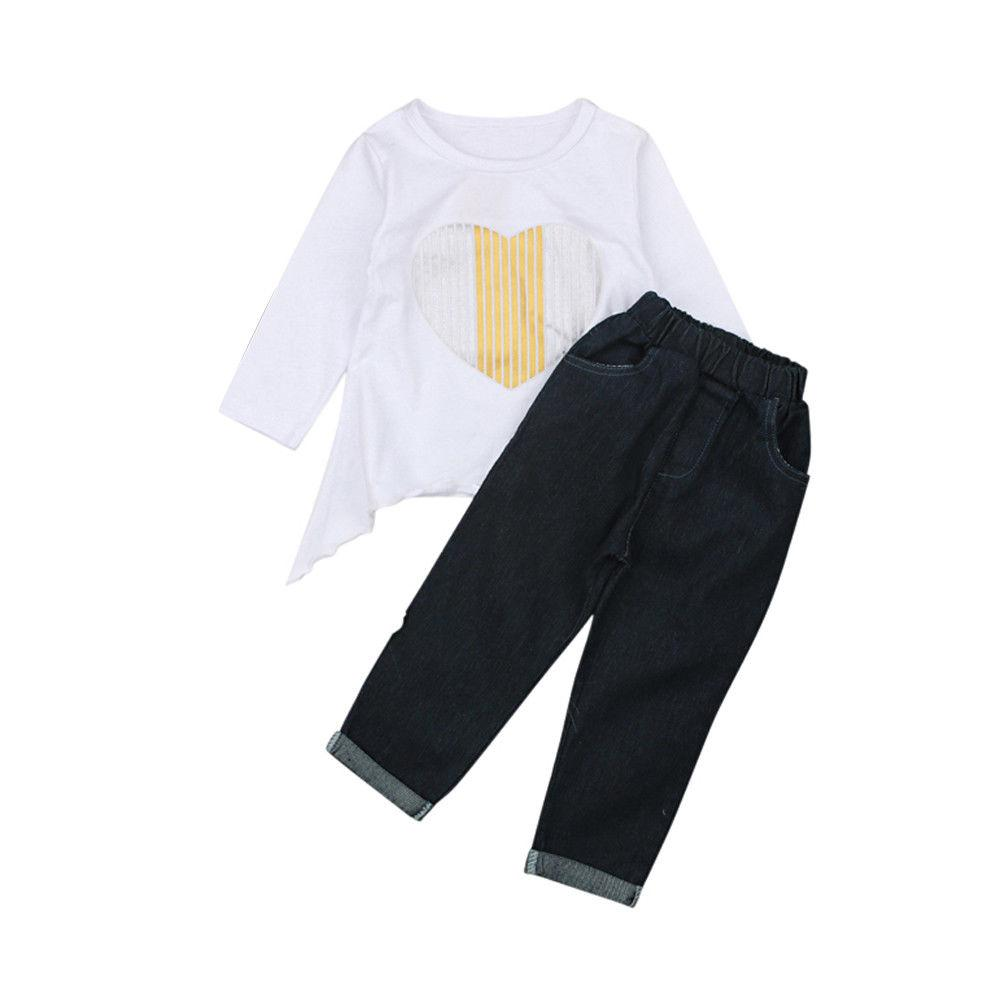 83549d708d318 2019 Emmababy Toddler Kid Baby Girl Outfits Set Heart Printed T Shirt Tops  Long Pants Clothes Set 2 10T From Luckyno, $22.44 | DHgate.Com