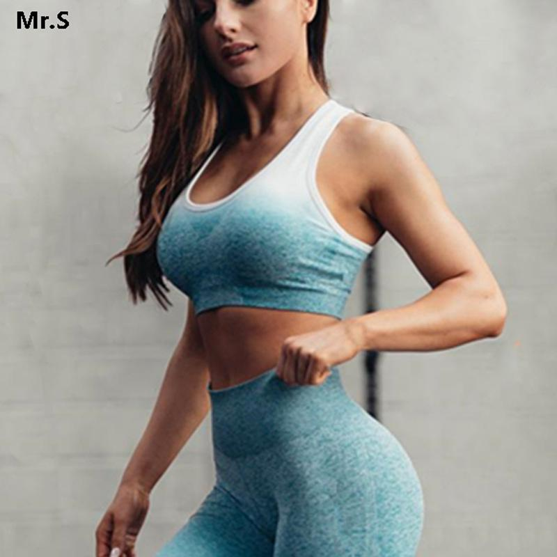 7aea8a785f1f 2019 Ombre Energy Seamless Sports Bra For Women Push Up Yoga Bras Gym Crop  Top Orange Racerback Workout Bra Fitness Tops Active Wear From Superfeel