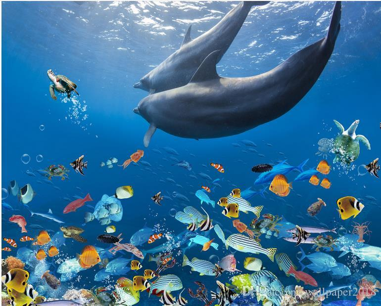 PVC Self-adhesive Floor Beautiful Dolphin Underwater World 3D three-dimensional bathroom floor tile floor painting