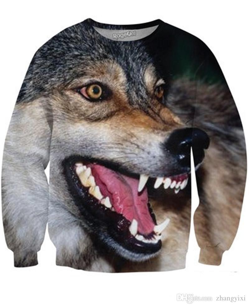 Wholesale women men 3d Animal Digital printed wolf tiger hoody tracksuit thin hoodies sportwear hoodies
