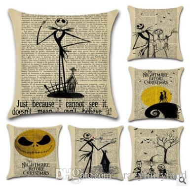 The Nightmare Before Christmas Halloween Jack And Sally Linen Pillow
