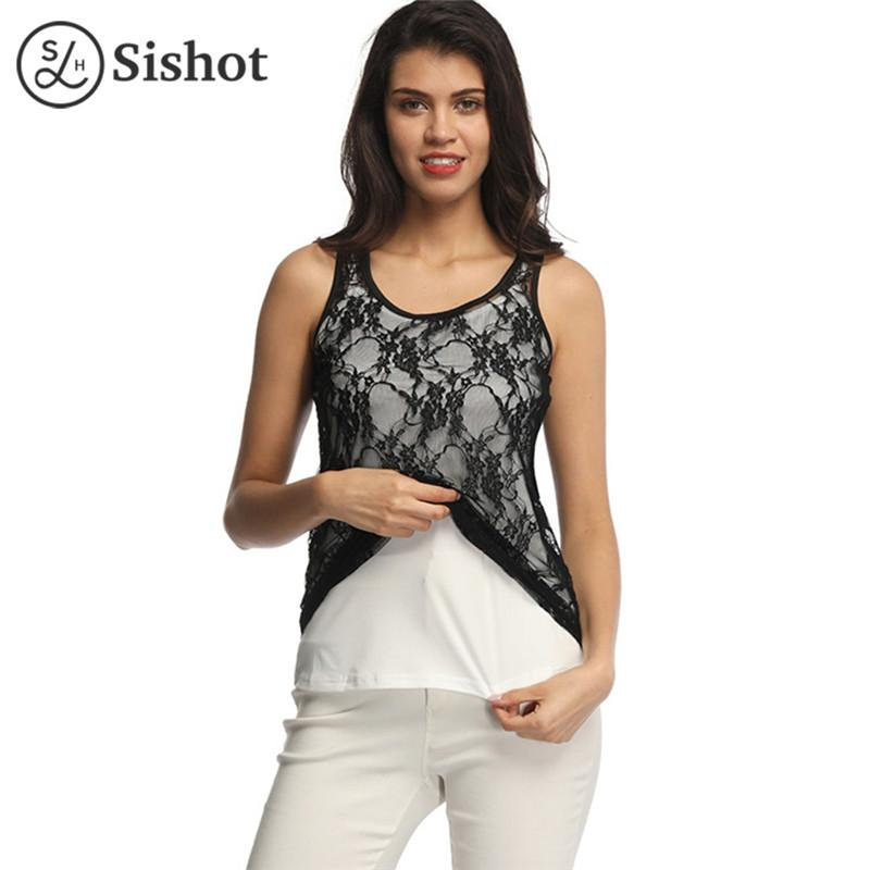 c10f3529da899 Women Tank Top New Arrival Lace Patchwork Crop Tops Female Sexy Perspective  Women Tops Tee Sleeveless Black Elastic Knitted Top