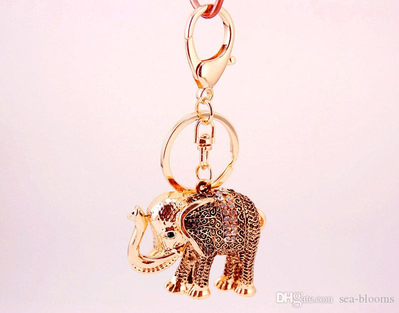Small Gift Fashion Creative Retro Elephant Modeling Keychain Exquisite Car Metal Pendants Key Chain Wholesale D977Q