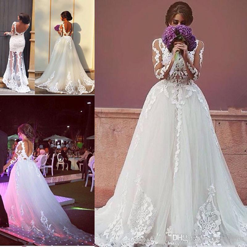 compre 2018 elegante blanco dos en uno vestidos de novia vestidos de