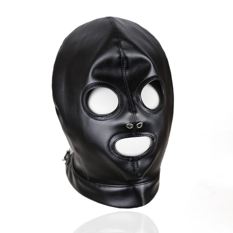 Visable Head Face Mask Sex Hood Faux Leather Party Play BDSM Bondage Gear Breathable Slave Adult Toys For Women GN312400011