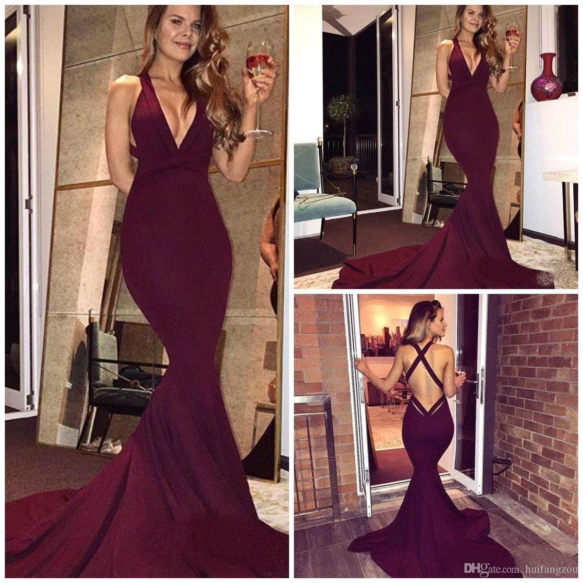 680064c5fc6 Wine Red Mermaid Prom Dresses Sexy Deep V Neck Sweep Train Evening Gowns  Cross Straps Formal Party Dresses Halter Neck Evening Dress Lace Evening  Dresses Uk ...