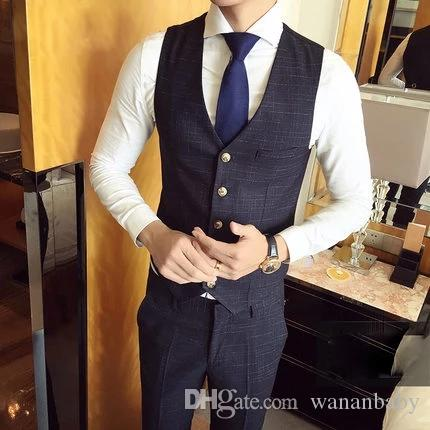 Wedding Dress Men And Grooms Wear Thin Suit Summer Suit Vest Toasts