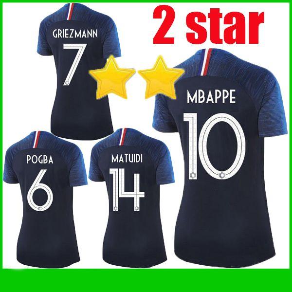 2019 2 Star MBAPPE Women Soccer Jersey POGBA Griezmann KANTE Camiseta Girl Soccer  Shirts GRIEZMANN DEMBELE GIROUD MATUIDI Maillot Football Shirt From ... 04fdf57202