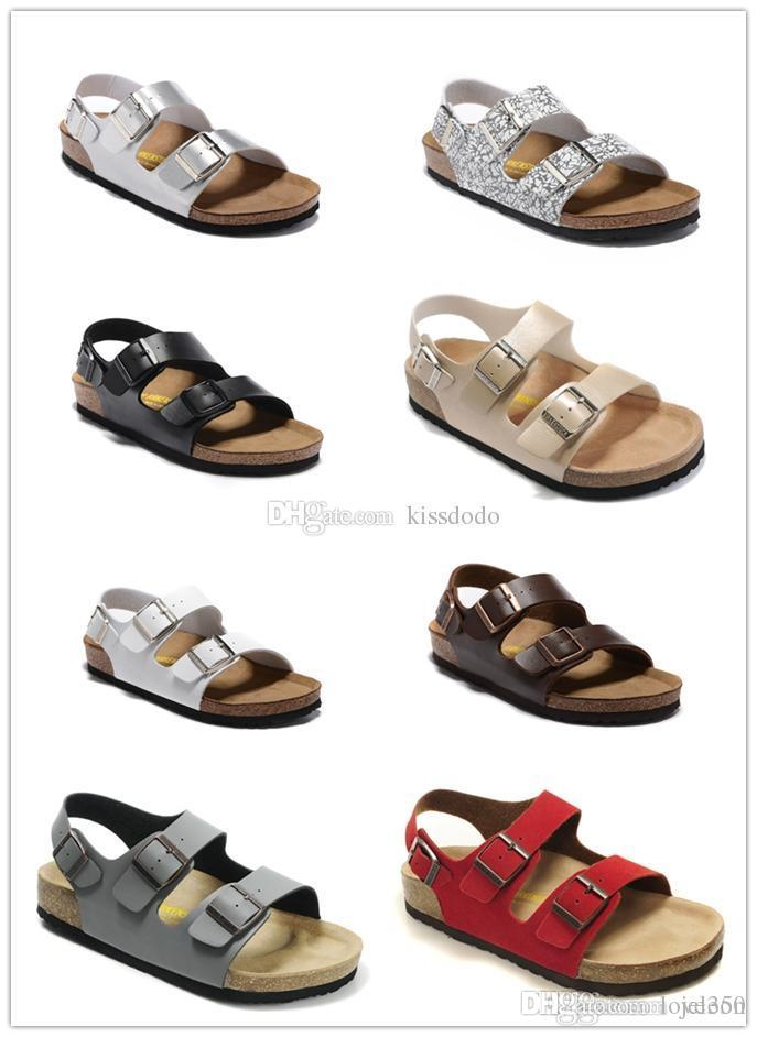 a0cd1830b15f2 Rio New Famous Brand Arizona Men's Flat Sandals Cheap Women Casual Shoes  Male Double Buckle Summer Beach Top Quality Genuine Leather Sl