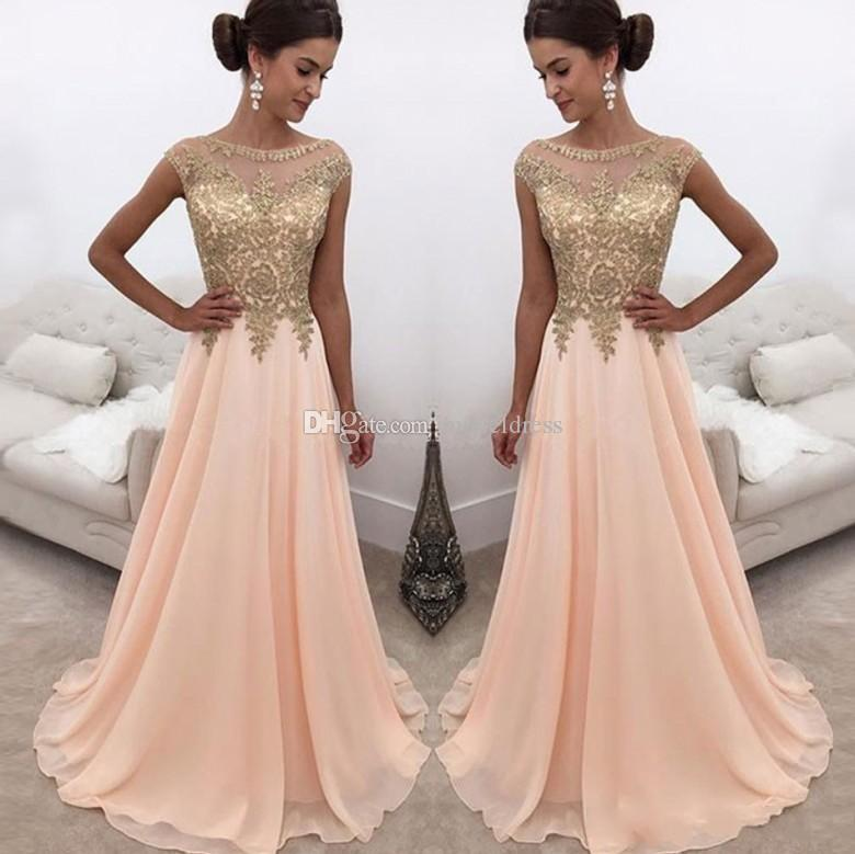 e9852bc04e 2018 Modest Peach Prom Dresses Sheer Neck Gold Appliques Beads Cap Sleeve A  Line Long Evening Party Special Occasion Gowns Cheap Customized Red Prom  Dress ...