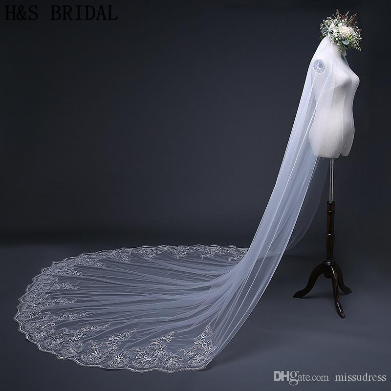 Cristales Velos de novia largos abalorios 1 capa catedral borde de encaje velos de novia 2018 nuevo diseñador 3m 4m velos accesorios de boda