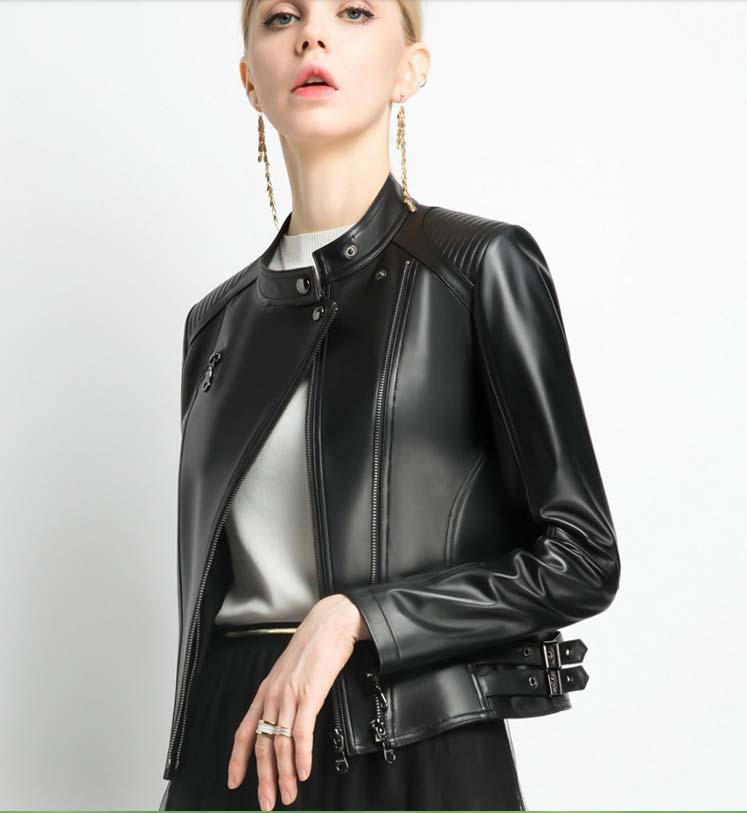 Compre Italia 2019 Mujer Primavera Otoño Moda Abrigo De Cuero Genuino De  Piel De Oveja Real Motorista Chaqueta Corta Para Dama Mujer Negro Xxl A   398.0 Del ... db687da33048