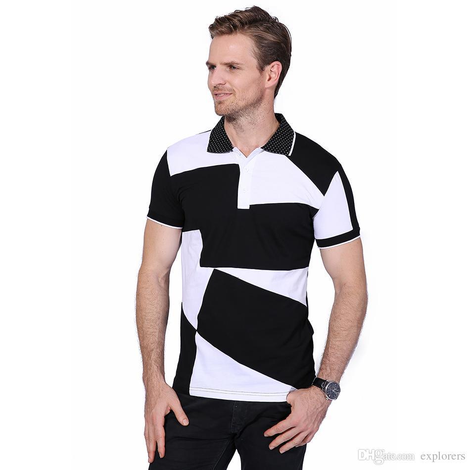 New Fashion Men S Polos Summer Black And White Stitching Short Sleeve Polo  Men Slim Fit Mens Casual Cotton Polo Shirts 5XL 6XL YH 125 Random Graphic  Tees ... 7c4791a77e43