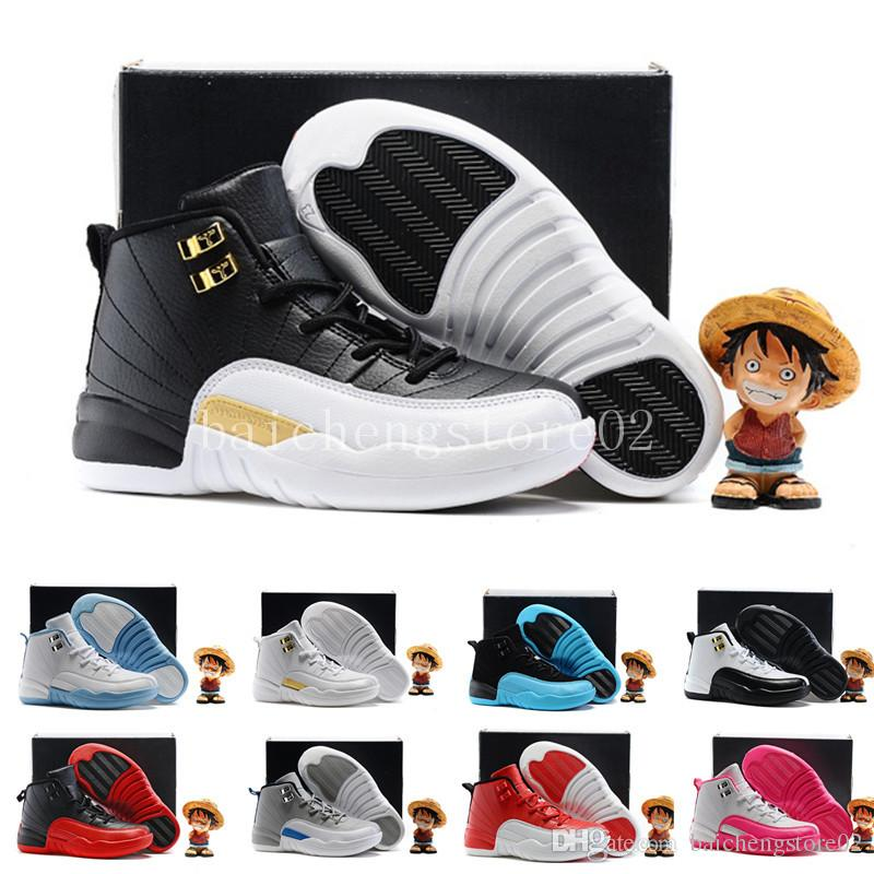 more photos 159ea 3c643 Acheter Nike Air Jordan 12 Aj12 Retro Garçons Filles 12 Enfants Chaussures  De Basket Ball Enfants 12s Gym Rouge 12s Barons Wolf Gris Français Bleu ...