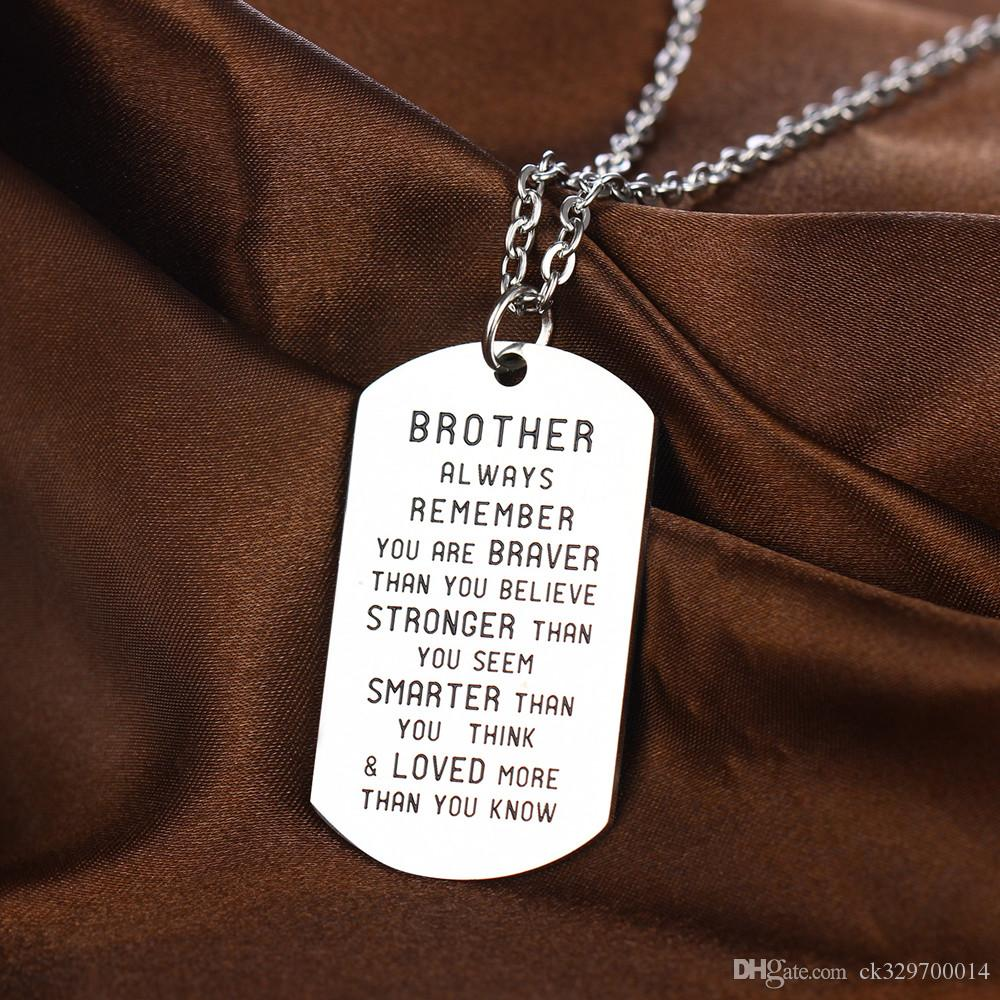 wholesale Brother necklace Always remember you're braver than you believe...than you know charm pendant necklace jewelry gift