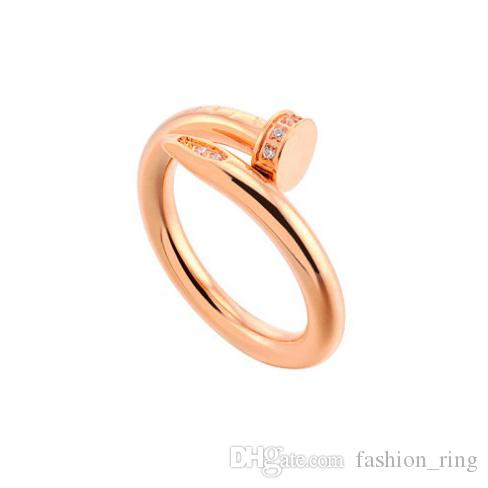 Mode trendy berühmte Marke 316L Edelstahl Liebhaber Ring Stud Bohren Ringe Gold Roségold Silber schwarz überzogen für Frauen Männer Großhandel