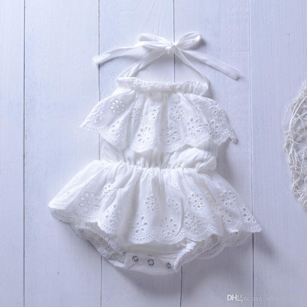 Ins Baby girls clothes Cotton White Lace Embroidery rompers Sleeveless Backless Halter 2019 Cute girls Jumpsuit Summer