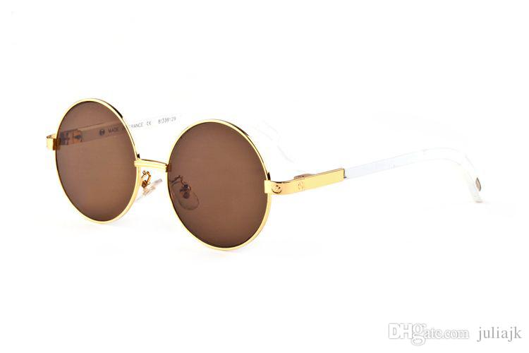 Fashion Full Alloy frames Round Glasses for Men Women Famous Brand Designer Gold Metal White Wood Bamboo Buffalo Sunglasses With Boxes