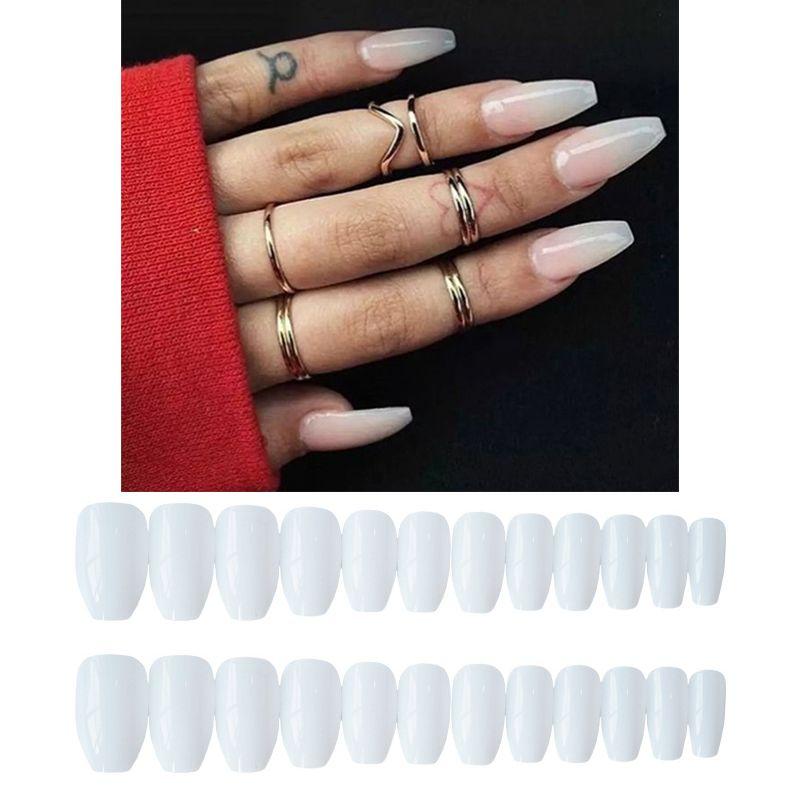 Long Ballerina False Nails Pre Design White Coffin Shaped Nail Art