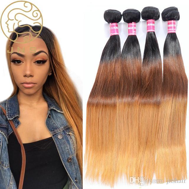 Virgin Ombre Indian Straight Hair Weave Bundles 1b427 3 Tone Human