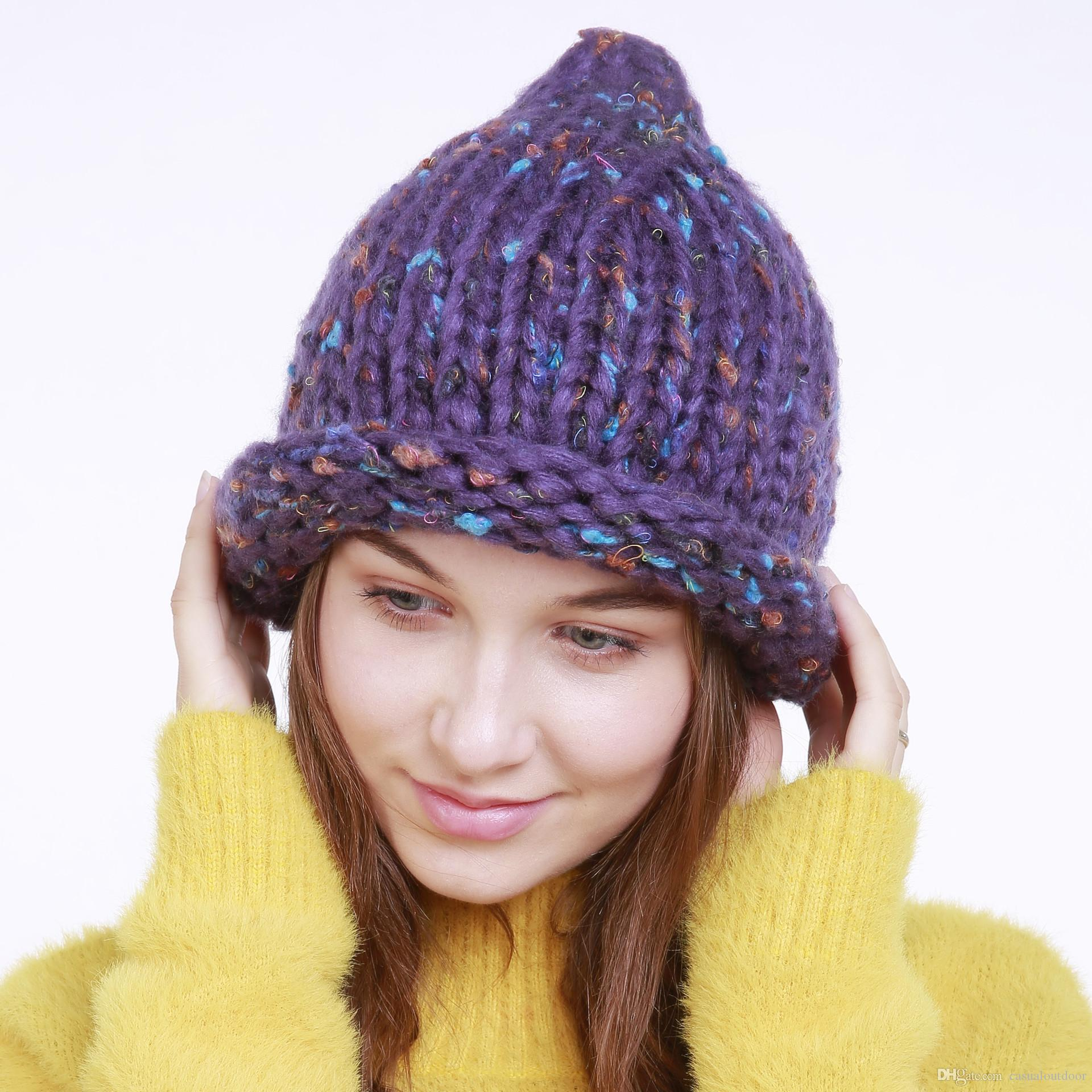 New Winter Hot Sale Thick Wool Hat Women s Popular Knit Hat Beanies ... ceaa1d275cf