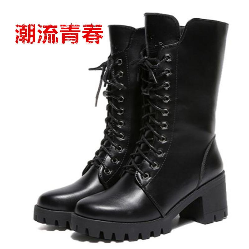 4fca3b044aae2 Women Boots Platform Wedge Heels Mid Calf Boots Zipper 2018 Ladies Winter Shoes  Size 34-40Hidden Heels Footwear Black Knee-High Boots Cheap Knee-High Boots  ...