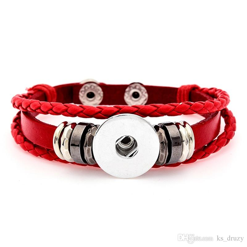 Noosa Punk Multilayer Snap Button Bracelet DIY 18mm Ginger Snap Button Braided Leather Bracelet Women Men Snaps Jewelry