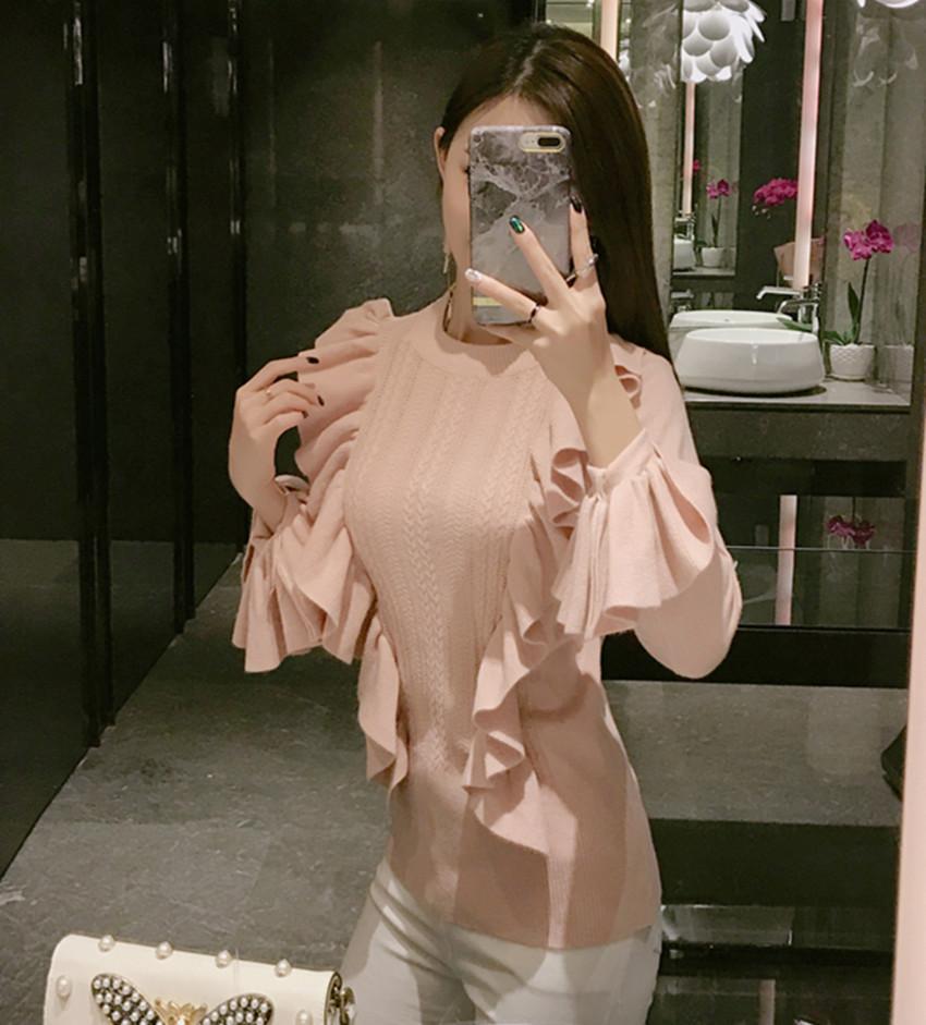 HAMALIEL Moda Dolce Autunno Inverno Donna Maglione 2017 Designer Rosa Lungo Flare Sleeve Ruffles Knitting Pullover i