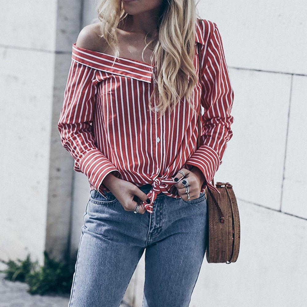 b21a11b43 Fashion Women shirts Long Sleeve Loose Off Shoulder Casual Shirt Summer  Tops Striped New Women Clothes