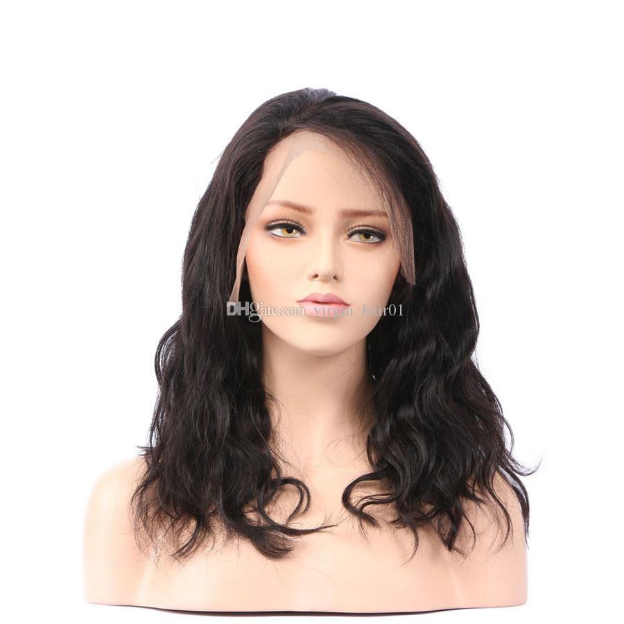 شعر الإنسان الدانتيل الجبهة الباروكات الأسود المرأة البرازيلي العذراء الشعر 130 الكثافة اللون الطبيعي 10-30 بوصة متموجة عذراء الباروكات غلويليس كامل الدنتلة