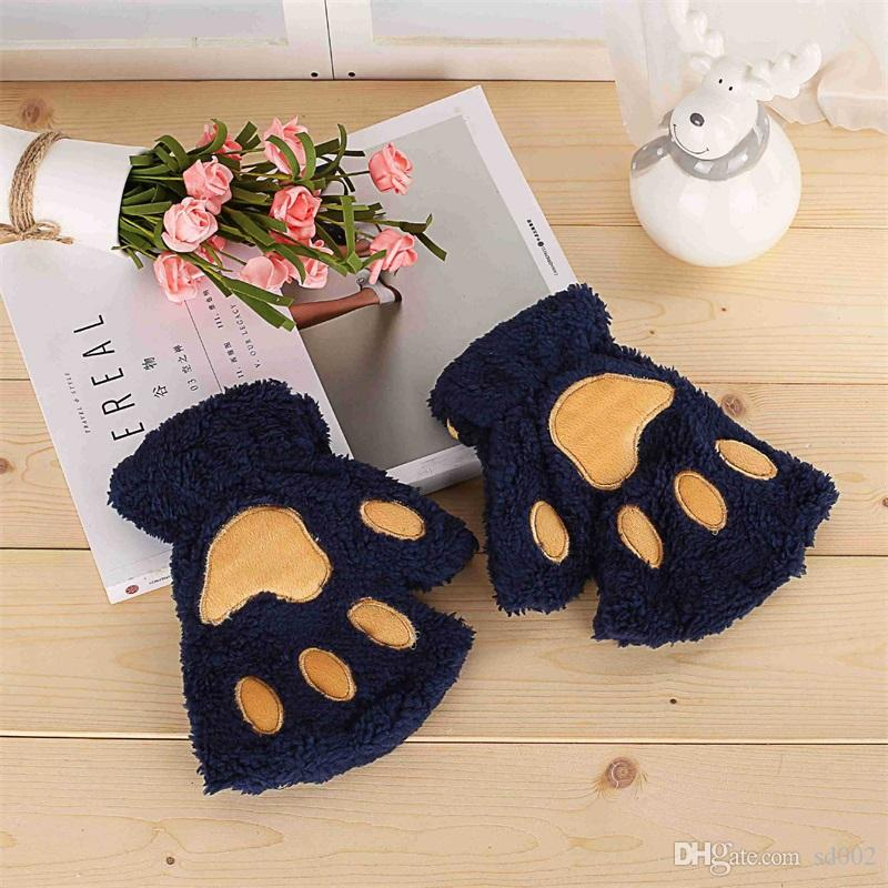 Mitten Deformity Winter Lovely Cartoon Cat Paw Shape Thick Half Finger Glove With Villus Keep Warm Mixer High Quality 4 9hl Y Z