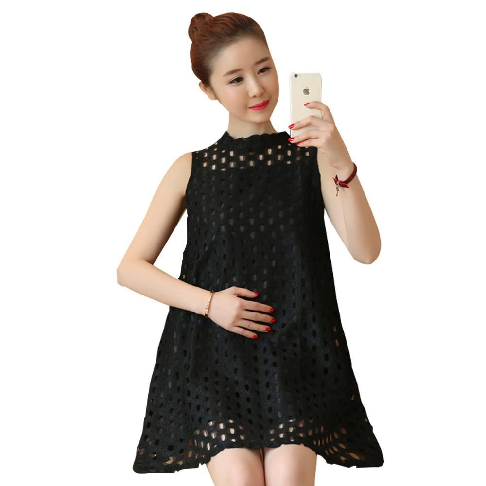 c581f62123720 2019 2017 Hollow Out Lace Pregnancy Shirt For Summer Black Maternity Tops  Sleeveless Maternity Clothes For Pregnant Women From Namenew, $27.5 |  DHgate.Com