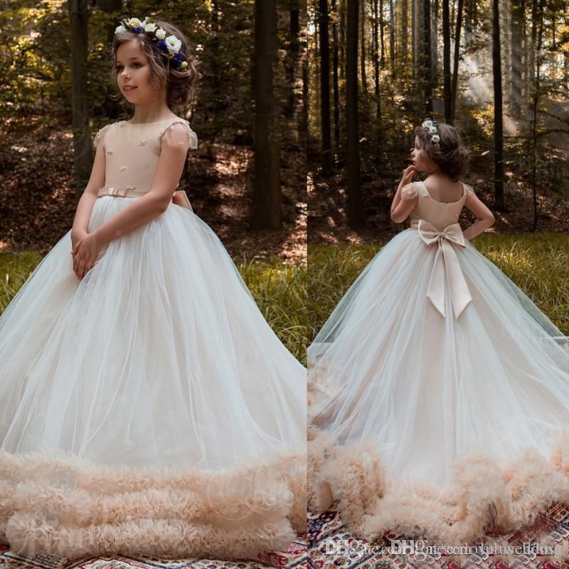 2018 Vintage Ball Gown Flower Girls Dresses For Weddings Cheap Beads ...