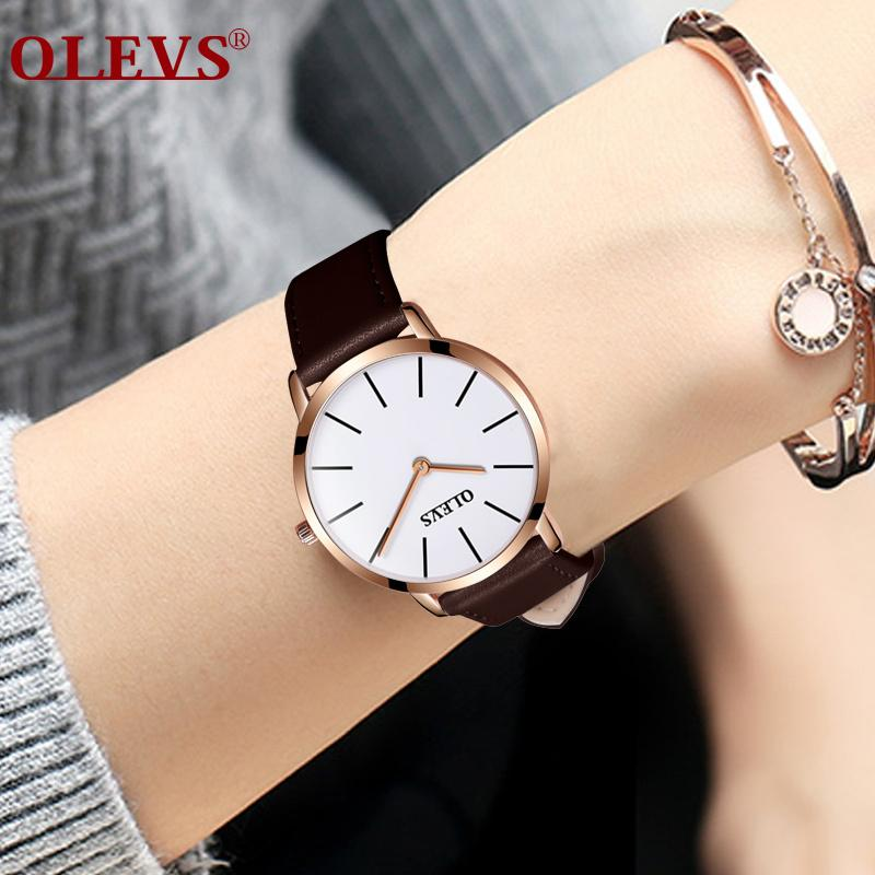 0d29d2610d2 Compre OLEVS Relógio Das Mulheres Dos Homens De Couro Relógios Top Marca  Mulheres Relógios De Luxo De Alta Qualidade De Quartzo Relógio De Casal  Ultra Fino ...